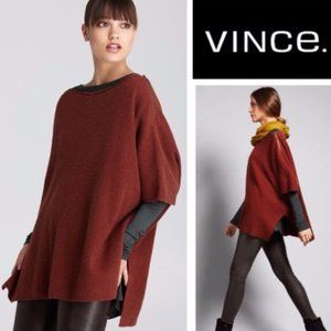 Vince M Henna Poncho Ribbed Knit Wool Cashmere